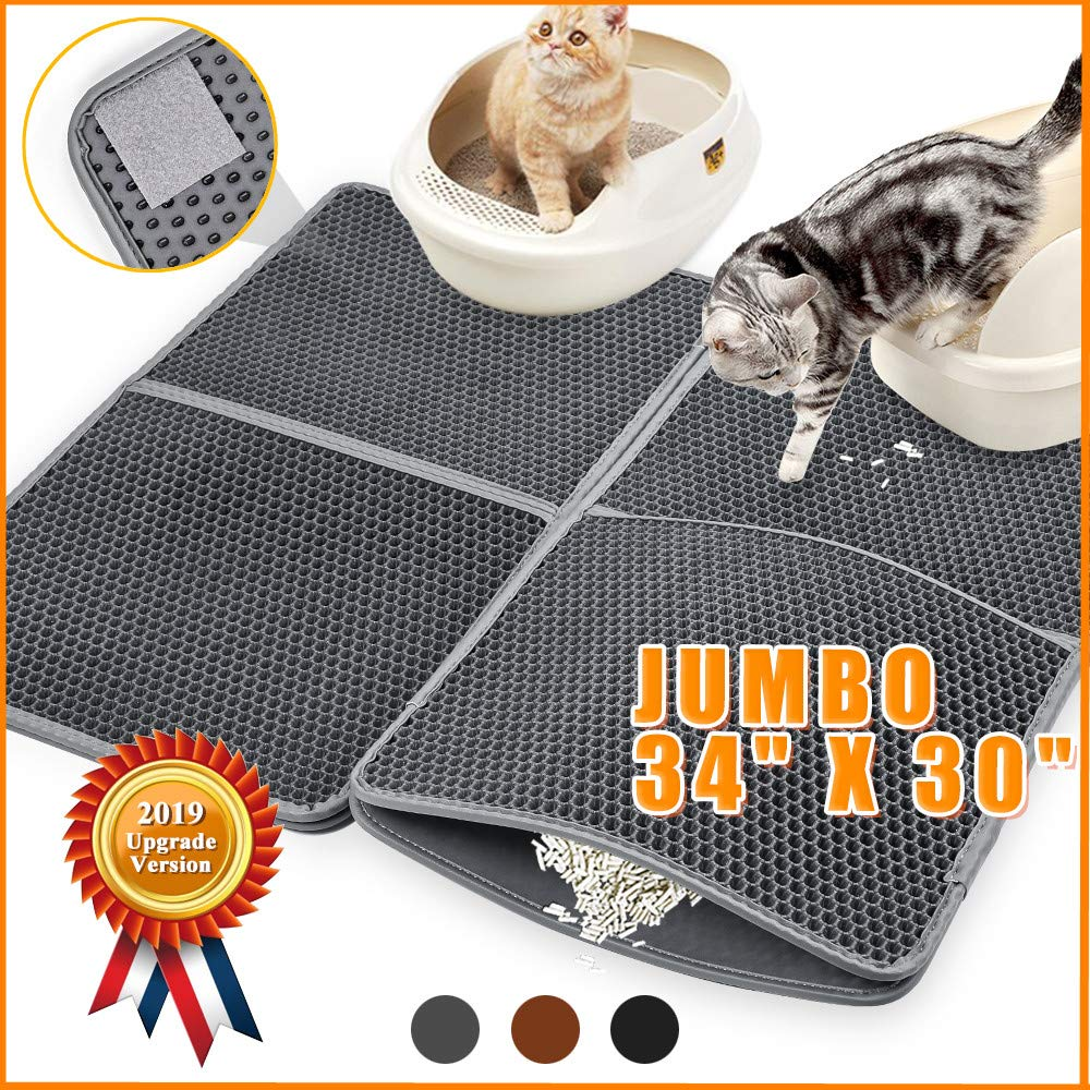 Cat Litter Catcher Mat Litter Trapping Jumbo 34'' x 30'', Honeycomb Double Layer Cat Litter Mat for Litter Box, Extra Large Waterproof Cat Litter Box Mat Trapper with PU Leather Edge, Can be Spliced by Snewvie
