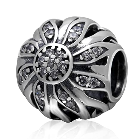 959d89e68 Image Unavailable. Image not available for. Color: 925 Sterling Silver  Sunflower Charm ...