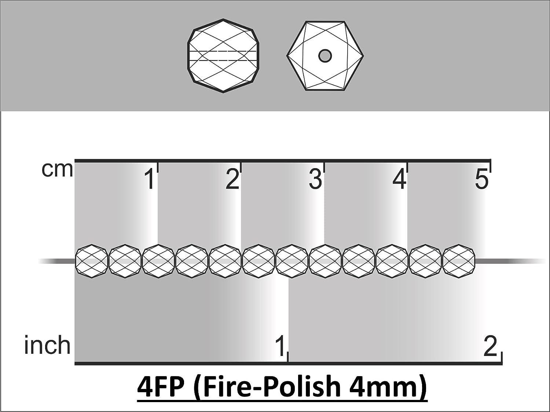 Sapphire Blue Transparent Fire-Polished Bead 100 Pezzi Perle di Vetro sfaccettato Ceco Rotondo 4mm