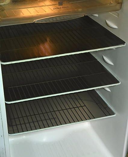 Kuber Industries PVC 6 Piece Fridge Mat Set - Black