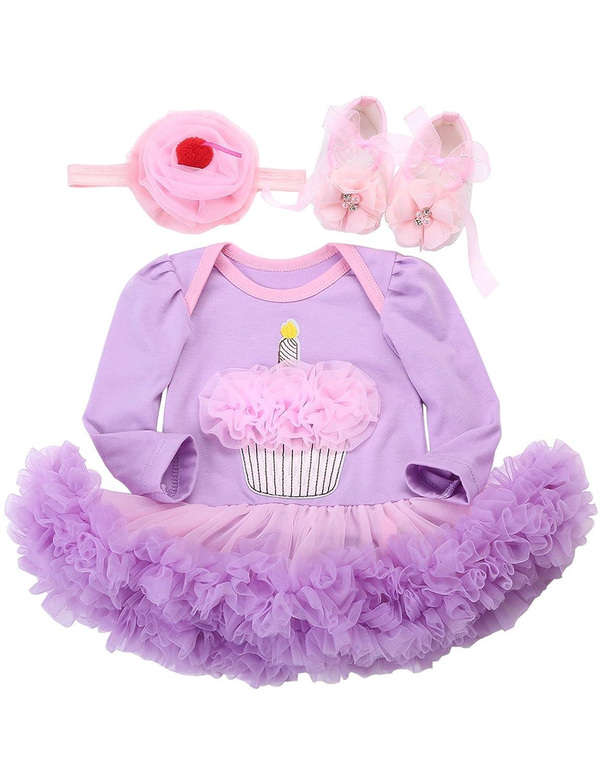 Fubin Tutu 1 Year Birthday Baby Dress Baby Girl Clothes Shoe Headband 3 Pcs Set