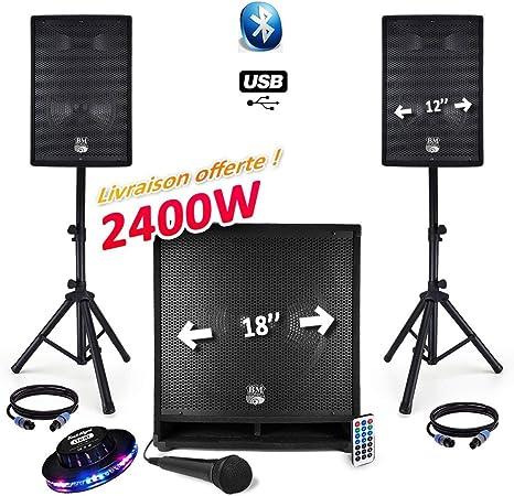 Pack megafonía completo BM Sonic 2400 W USB/BT MKII – 2 altavoces ...