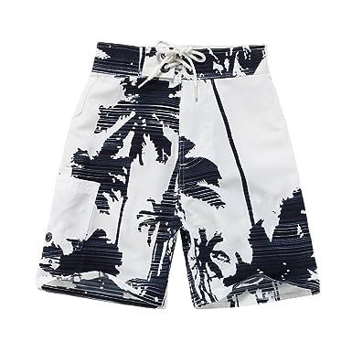aaead15535 Boy Hawaiian Swimwear Board Shorts with Tie in White with Navy Palm Print 2  Year Old