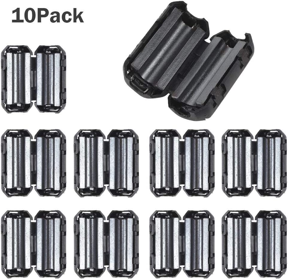 Anti-Interference Noise Filters Ferrite Core Choke Clip for Telephones,Tvs,Speakers,Video,Radio,Audio Equipment /& Appliances Power Audio 10Pack Noise Filter Cable Ring