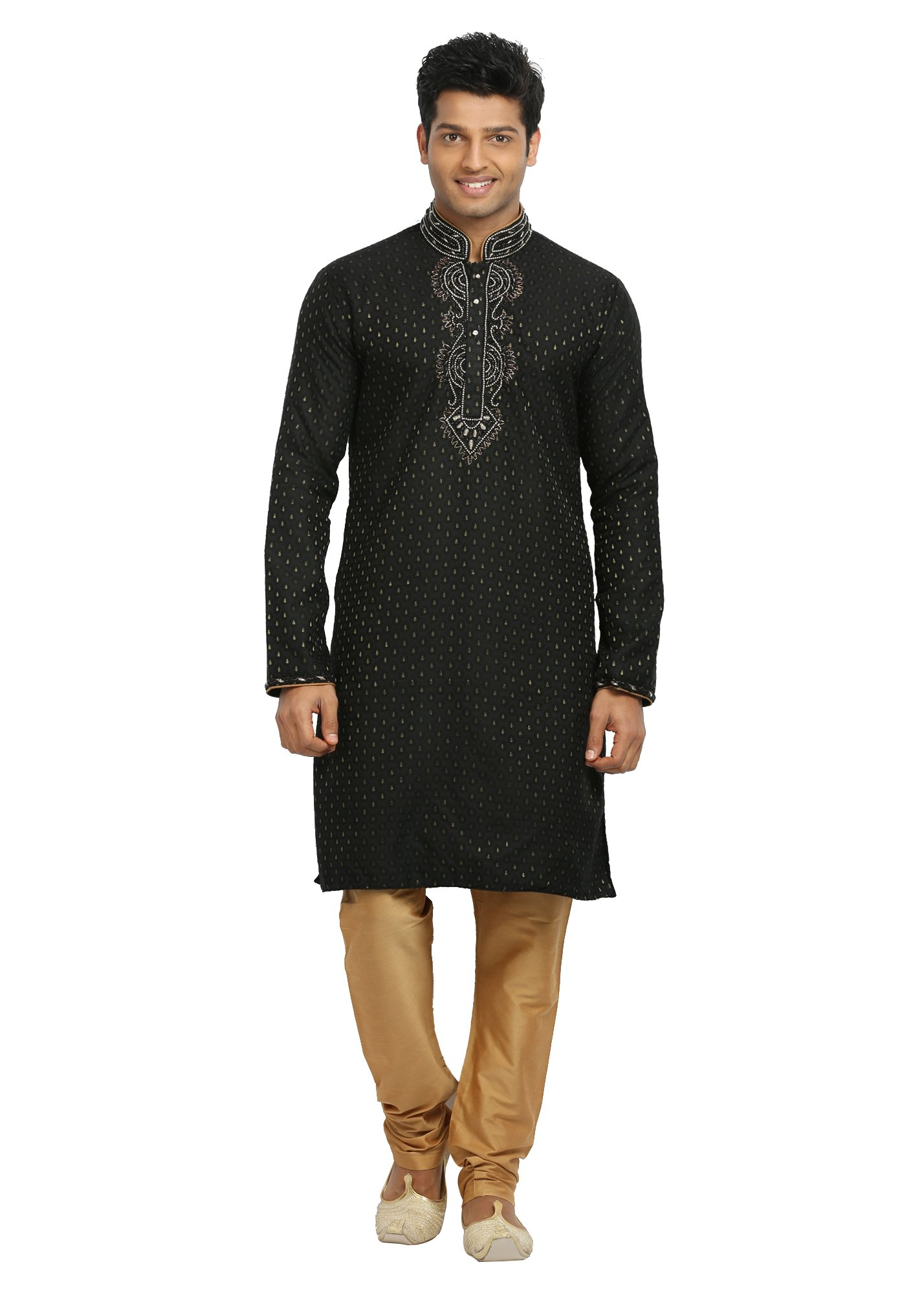 Saris and Things Black Indian Wedding Kurta Pajama Sherwani for Men