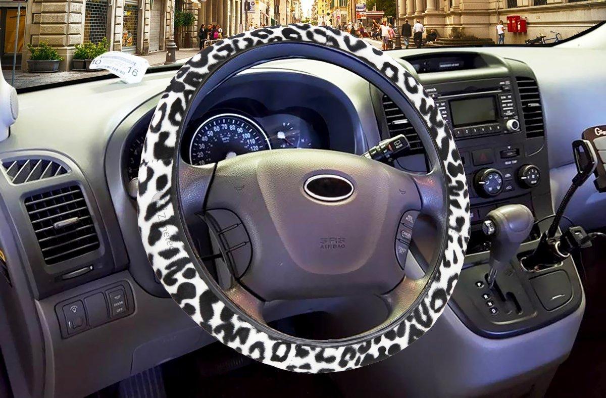 Zone Tech WC0013 White Snow Leopard Steering Wheel Cover Shoulder Seatbelt Straps Pad