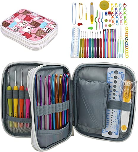 Set of 7 Mixed Knitting Needles Tools Plastic Kit Aluminum Crochet Hooks Set