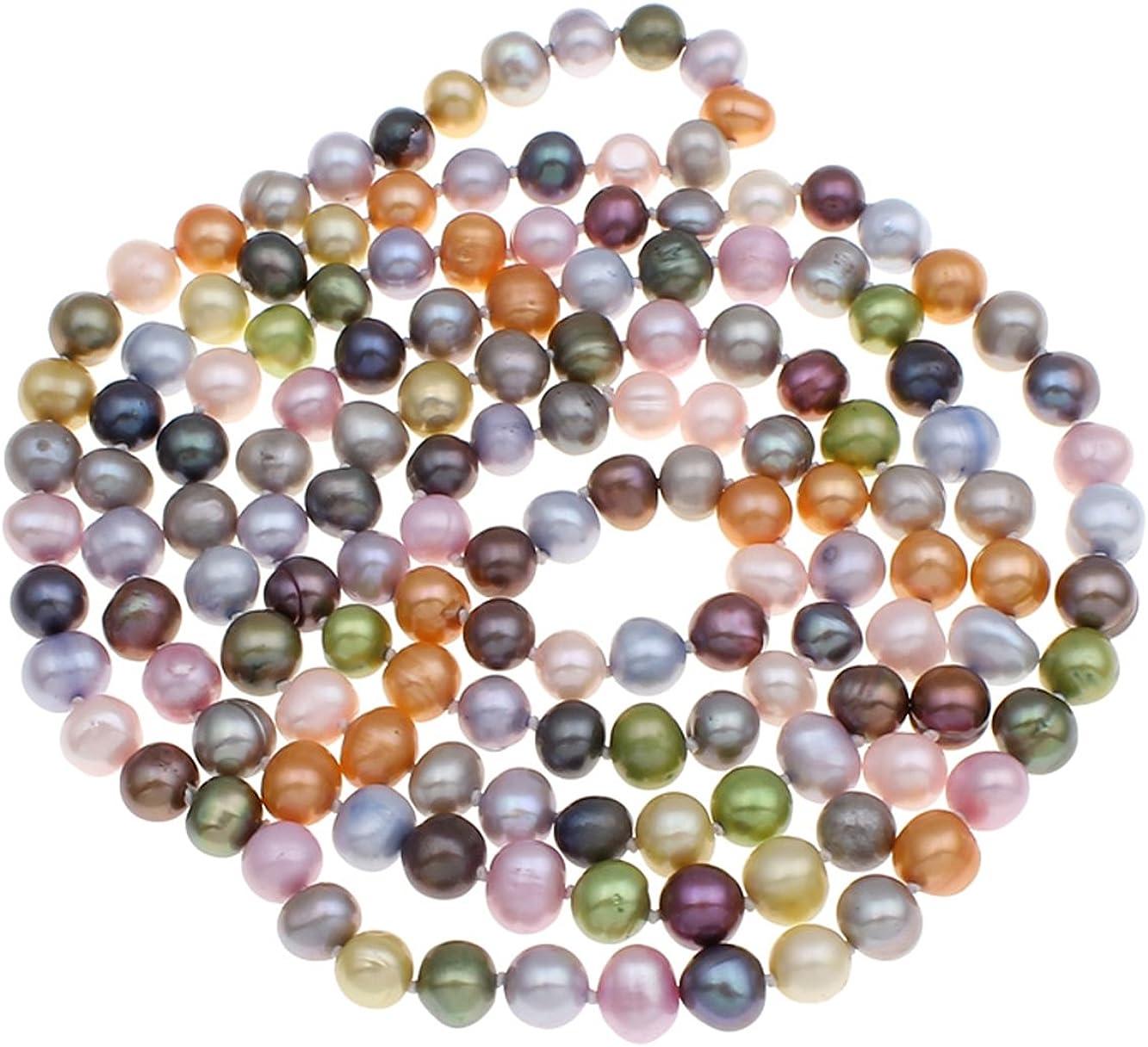 Collar de perlas cultivadas en agua dulce de la marca Treasurebay, naturales y multicolores, estilo elegante y clásico, de 120 cm, formato 5 en 1. Incluye estuche