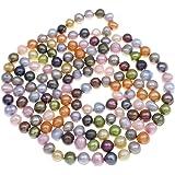 TreasureBay classique et élégant–Collier Femme–Perle d'eau douce–Fabriqué à partir de 8–9mm Perles d'eau douce naturelles Choix 160cm ou 120cm