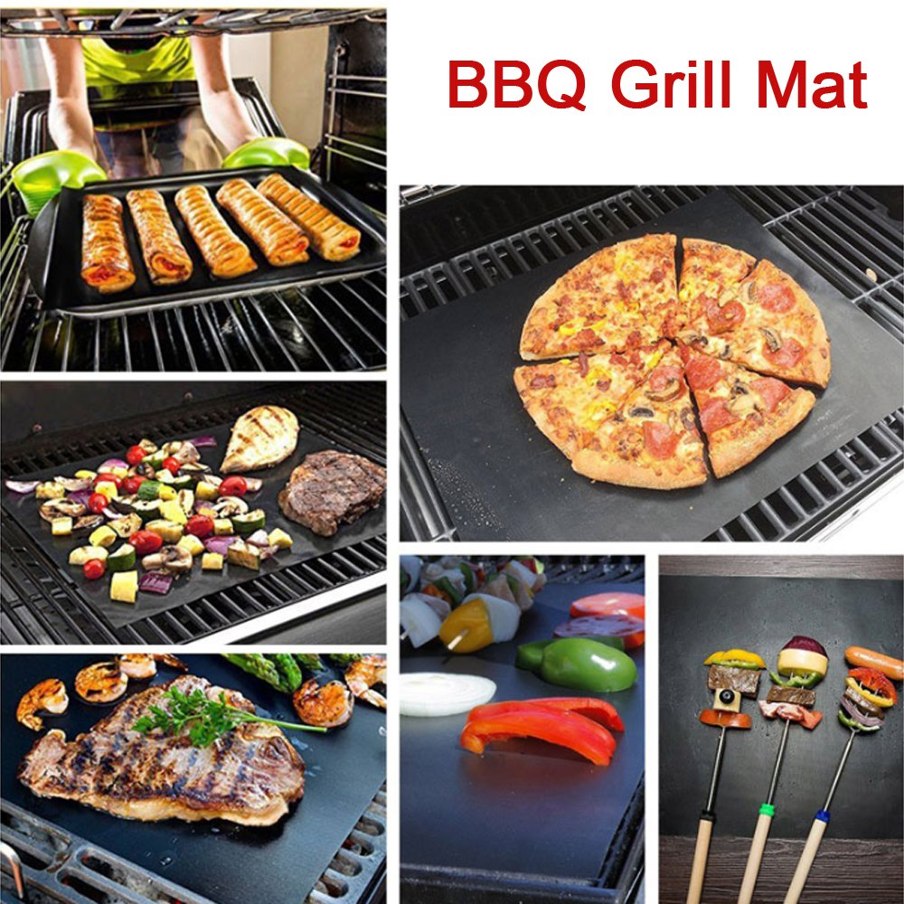 LUXJET BBQ Grill Mat Set of (3+2), Non Stick Oven Liner Teflon Cooking Mats with Silicone Basting Oil Brush,Reusable, Durable, Heat Resistantand, Easy to Clean,for Oven and Grillers