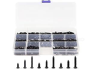 LBY 900pcs M1.7 M2 M2.3 x 5mm / 8mm/ 12mm Philips Flat Head Self-Tapping Sheetmetal Screw Assortment Kit Mini Wood Screws 9 Sizes Combination Carbon Steel Black