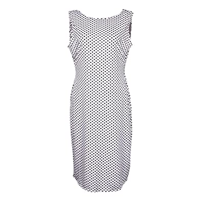 VESNIBA Fashion Women Polka Dot Dress Sleeveless Halter Pencil Dress (S, White)
