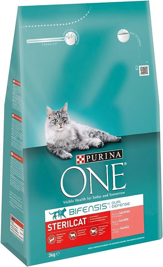 Purina One - Gatos Esterilizados rico en Salmón y Trigo, 3 Kg: Amazon.es: Productos para mascotas