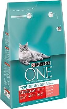 Purina One - Gatos Esterilizados rico en Salmón y Trigo, 3 Kg ...