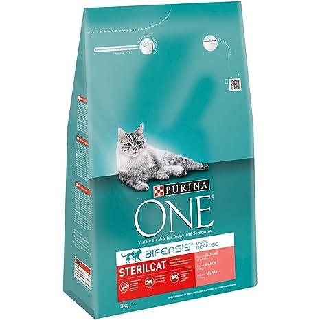 Purina One - Gatos Esterilizados rico en Salmón y Trigo, 3 Kg