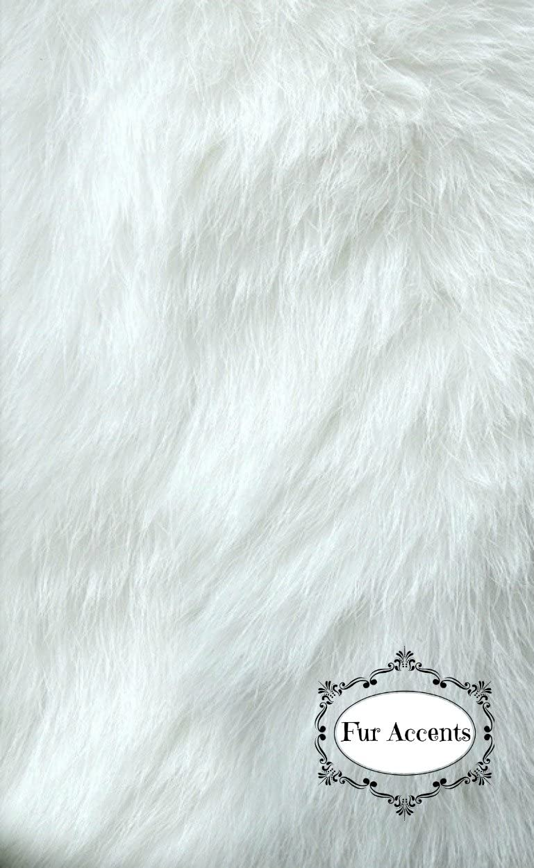 Fur Accents Classic Rectangle Sheepskin Area Rug Plush Premium Shag Faux Fur 5 x8 , Bright Arctic White