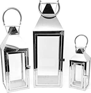 allgala 3-PC Set Jumbo Luxury Modern Indoor/Outdoor Hurricane Candle Lantern Set with Chrome Plated Structure and Tempered Glass-Pyramid Top Silver-HD88032
