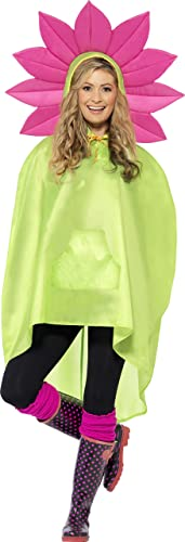 Smiffy's Adult Unisex Flower Party Poncho, One Size, Color Green, 27607