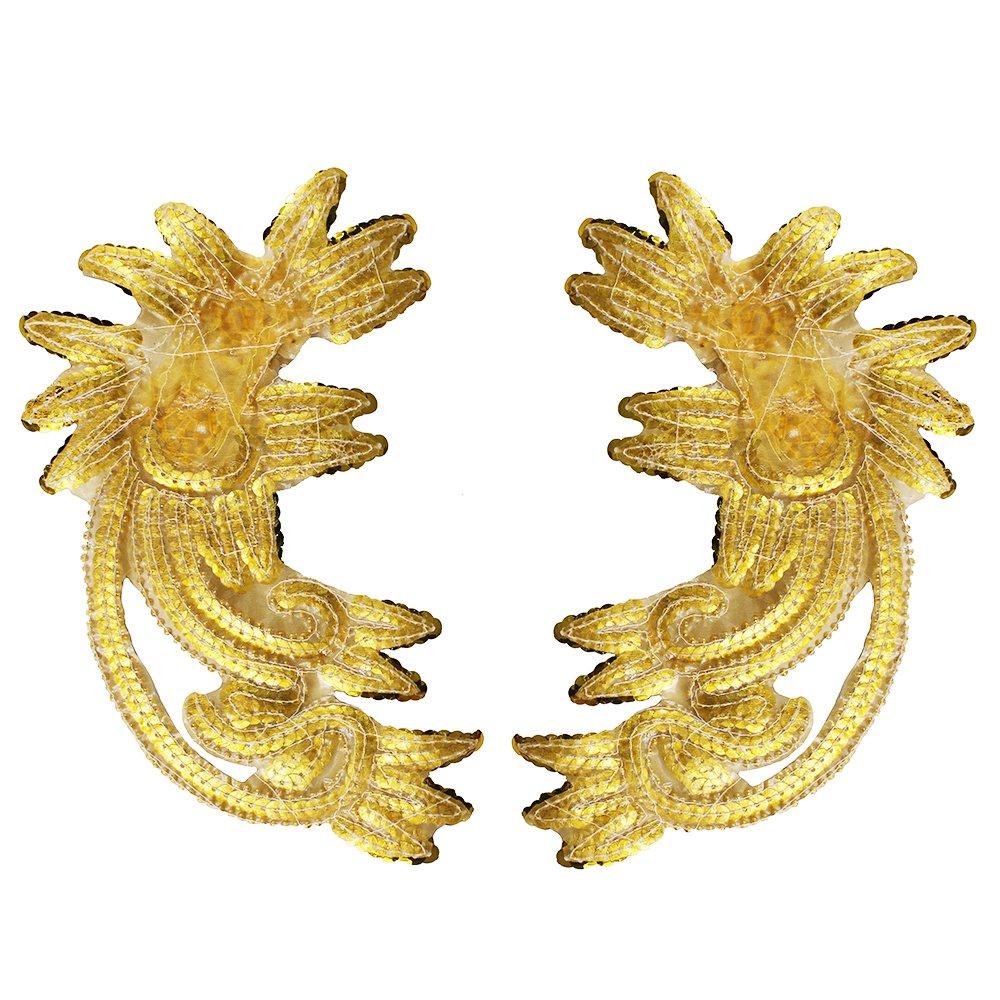 1/pieza colorido flor encaje bordado cuello dorado Lentejuelas Parches apliques coser de vestido de baile disfraces accesorios A