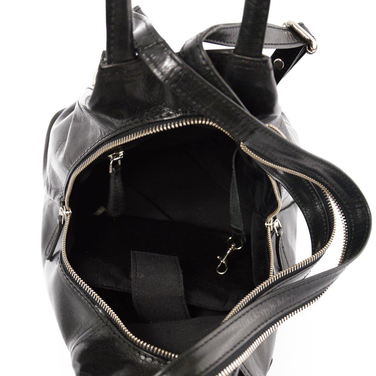 Genuine Leather Woman Backpack 2 Pockets Color Black