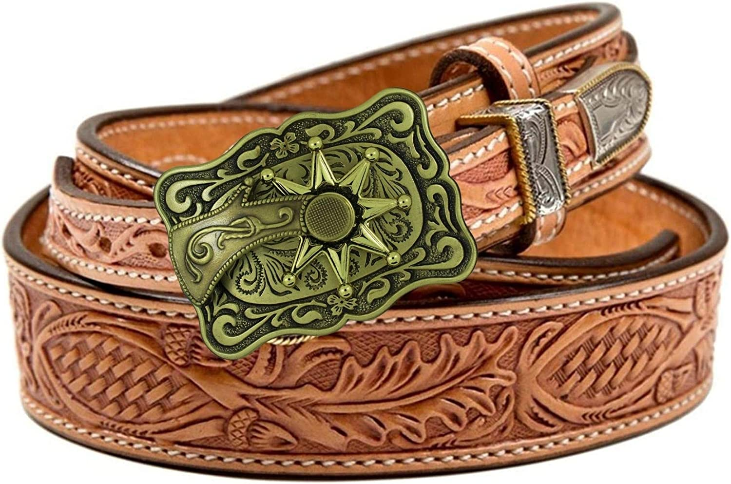 Rodeo Belt Buckles for Men Western Apparel Rectangular Bronze with Movable Spur 3.5 x 2.5 Inches