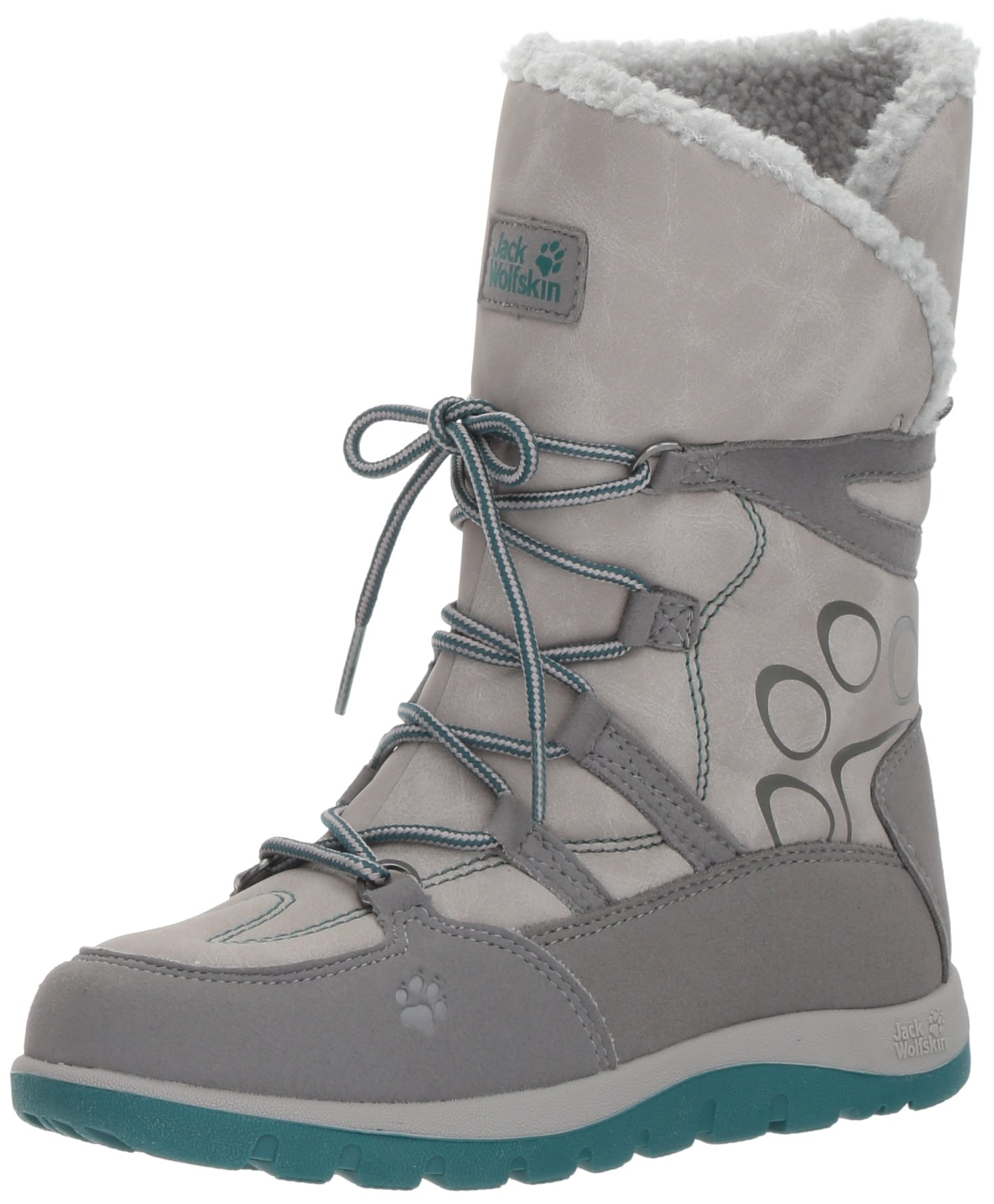 Jack Wolfskin Girls' Rhode Island Texapore High G Snow Boot, Alloy, 3.5 N US Little Kid