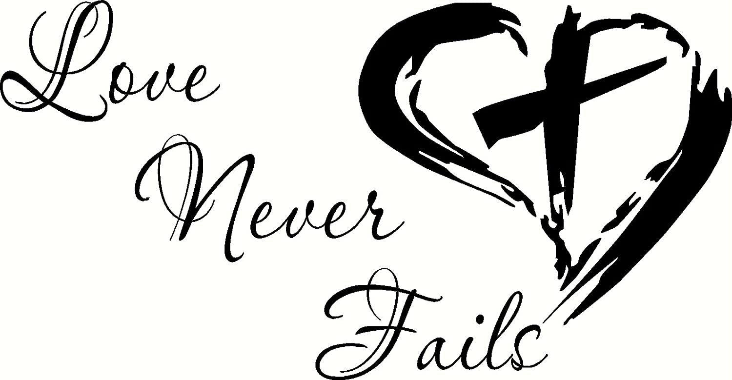 amazoncom love never fails bible verse wall decal 1 corinthians our christian wall decals are made in the usa love is patient