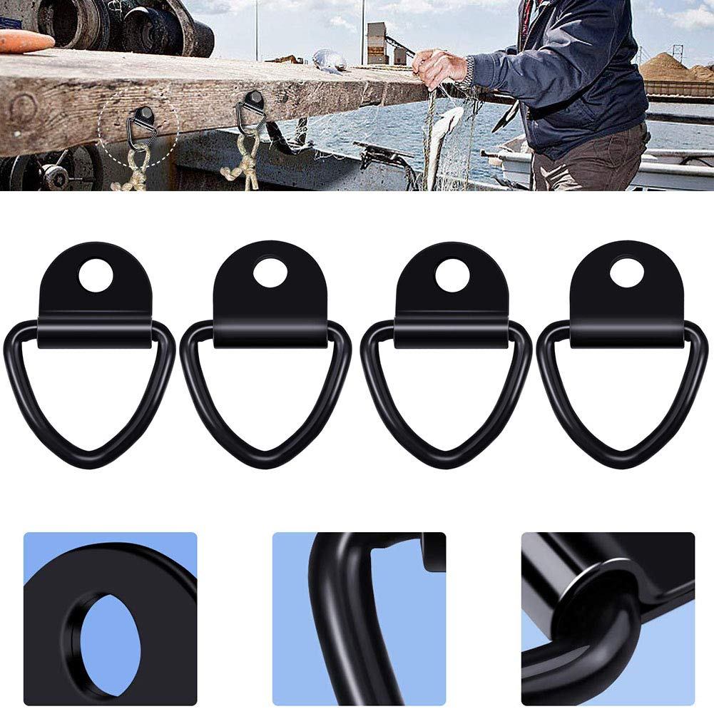 D Rings Anchor Lashing Ring for Loads on Case Truck Cargo Trailers RV Boats BESLIME 4 pcs Trailer Anchor Tie Down Anchors Hook,Anchors Lashing Rings for Trailers Trucks Black