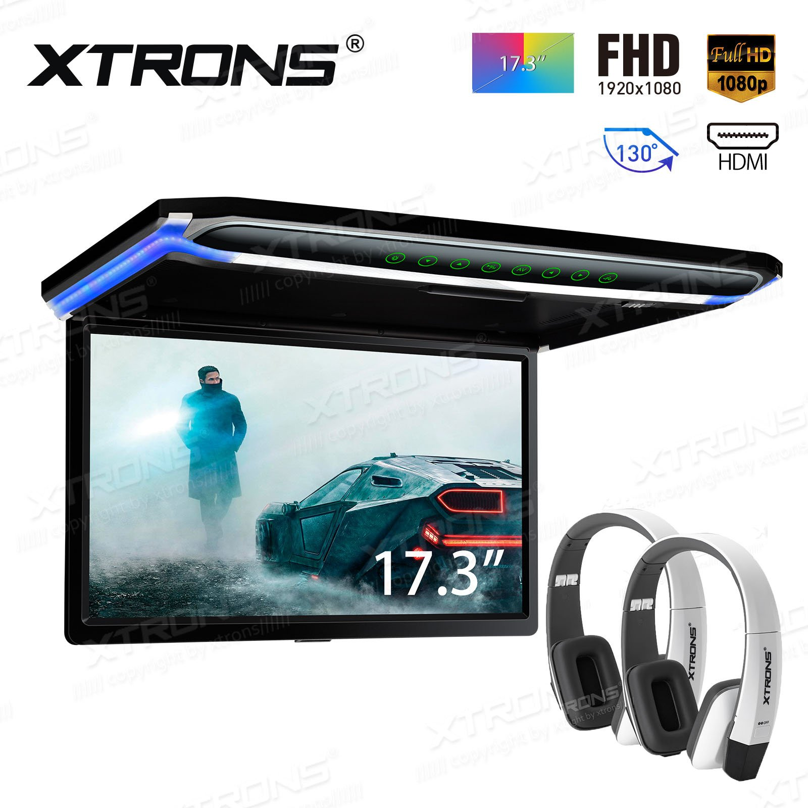 XTRONS 17.3 Inch 16:9 Ultra-Thin FHD Digital TFT Screen 1080P Video Car Overhead Player Roof Mounted Monitor HDMI Port 19201080 Full High Definition New Version White IR Headphones