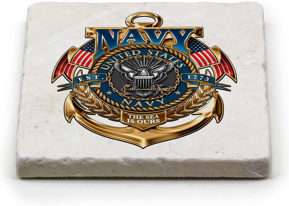 Natural Stone Coasters – United States Navy Gifts for Men or Women – US Navy Beverage & Beer Coasters – US Navy The Sea Is Ours (1 Piece)