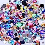 Mix Sizes 300pcs Crystal AB Mix Colors Nail Art Rhinestones DIY Non Hotfix Flatback Acrylic Nail Stones Gems for 3D Nails Art