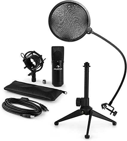 AUNA MIC-900B Set de micrófonos V2 - micrófono condensador USB ...