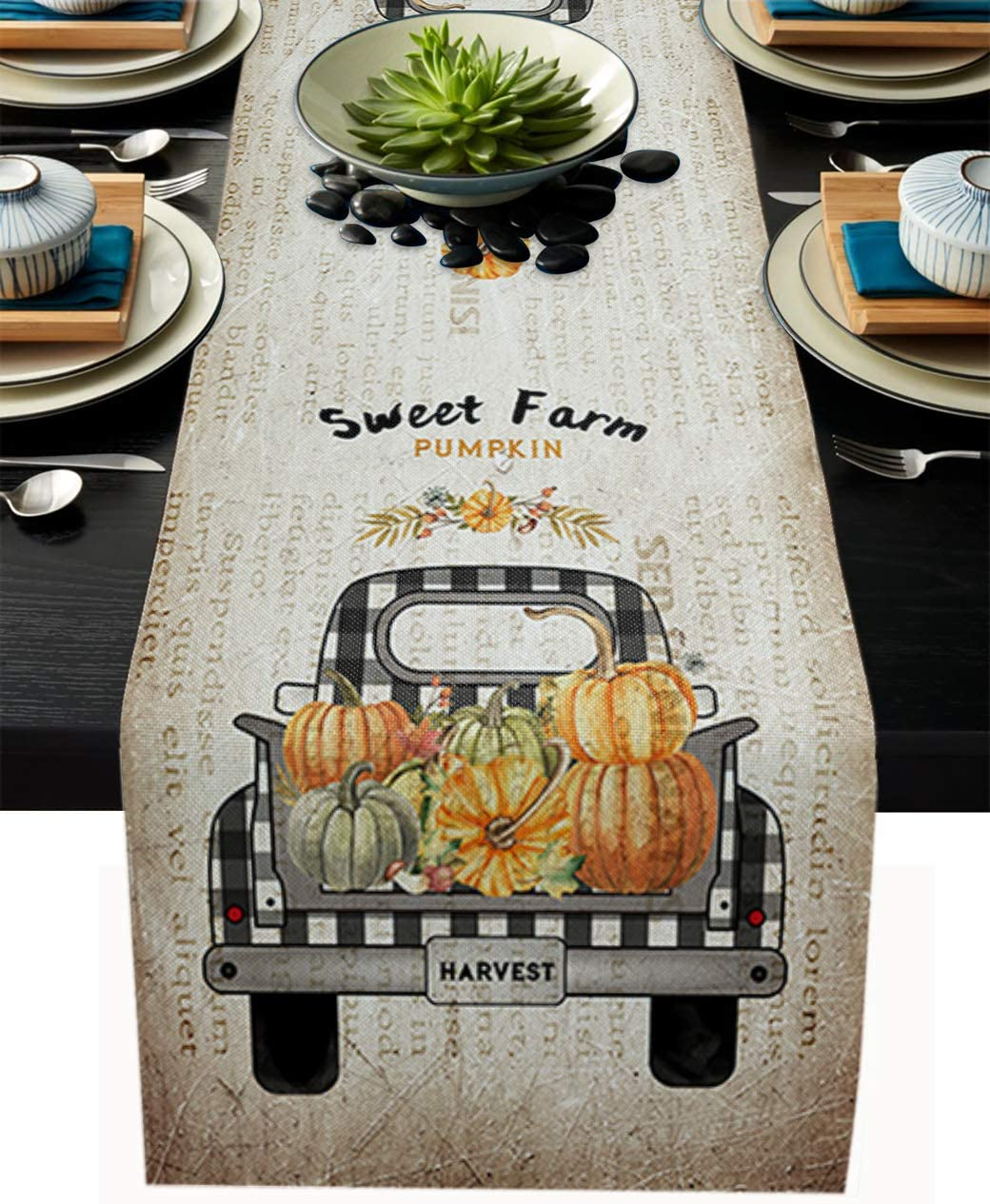 Linen Burlap Table Runner Sweet Farm Pumpkin Dresser Scarf Table Decorations for Everyday Use, 14x72 Inch Table Runners for Dinner Parties & Events, Retro Autumn Harvest Thanksgiving Truck