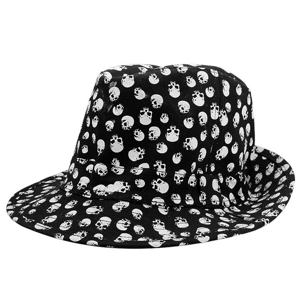 830bdf7b1 LOCOMO Skull Bone Skeleton Embroidery Fedora Short Upturn Brim Hat Cap  FFH263BLK