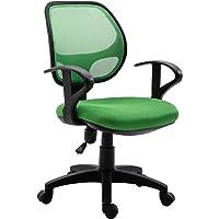 IDIMEX Chaise de Bureau pour Enfant Cool Fauteuil pivotant et Ergonomique avec accoudoirs et Dossier ventilé, siège à roulettes avec Hauteur réglable, revêtement Mesh Vert foncé