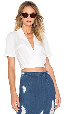 6beaef648c2a Sexy Short Sleeve Collar Cross Wrap Front Tie Cut Out Back Blouse Shirt  Surplice Cropped Crop Top White - White -: Amazon.co.uk: Clothing