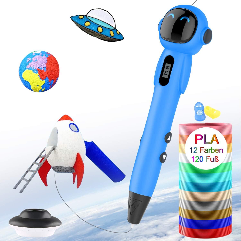 3D Stifte Lovebay 3d stift set mit Ein kompletter Satz von 12 Farben und LCD display 3D Pen Kompatibel mit PLA und ABS Weihnachtsgeschenk f/ür Kinder und Erwachsene DIY kreative Malerei