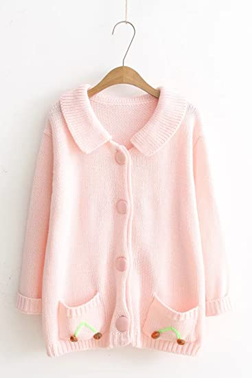 Fall and winter clothes Japanese Sen female small fresh sweet cherry pink sweater  cardigan coat sweater c68e90520