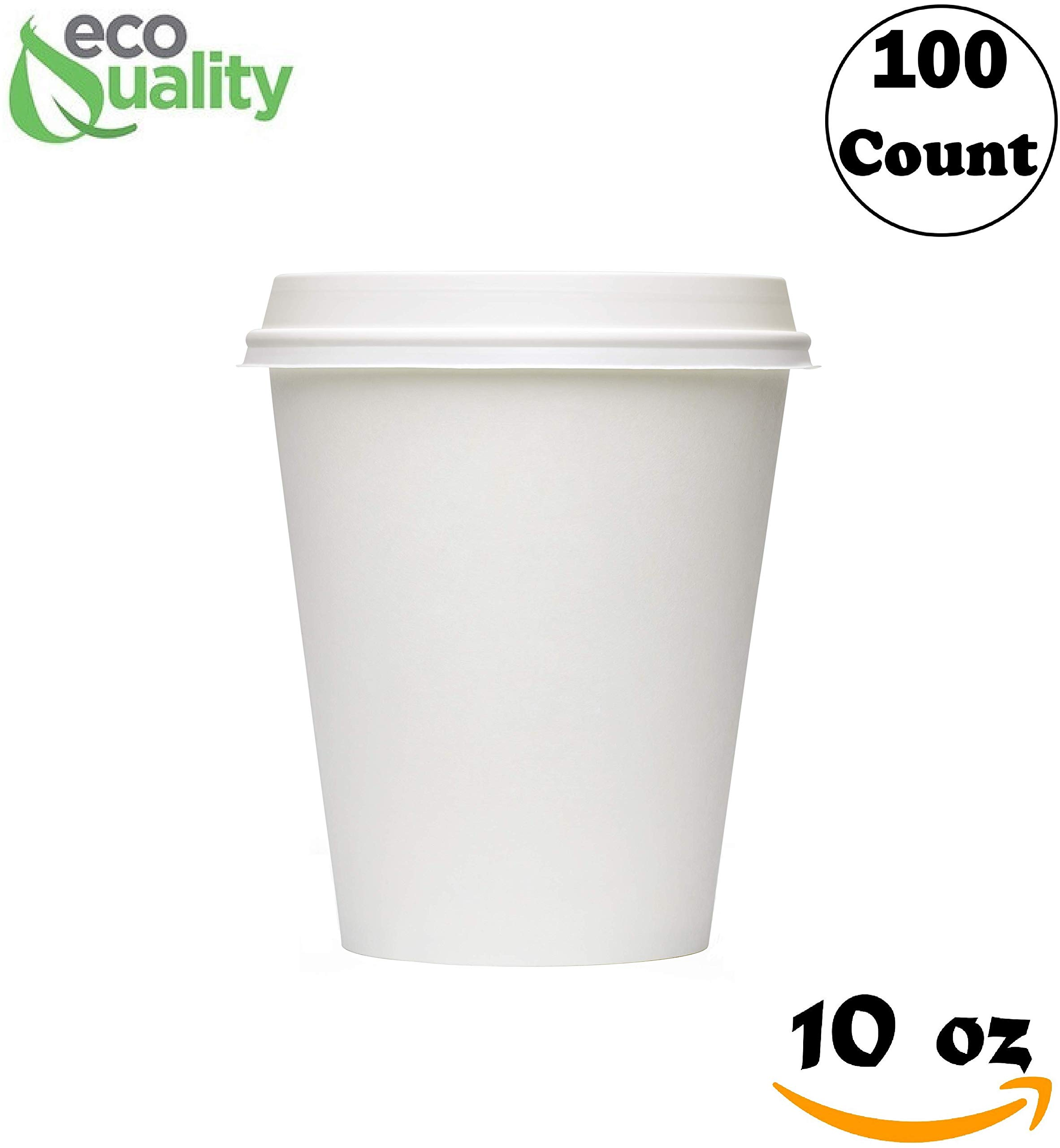 EcoQuality 10 oz White Hot Drink Paper Cups with White Dome Lids - 100 Count - Disposable Paper Coffee Cups perfect for Tea, Latte's, Coffee Shops, Restaurant Grade