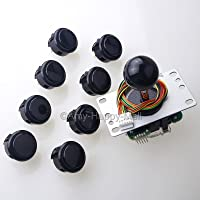 Sanwa JLF-TP-8YT Joystick + 8 piece Sanwa OBSF-30 Push Buttons Bundle Kit Color: Black