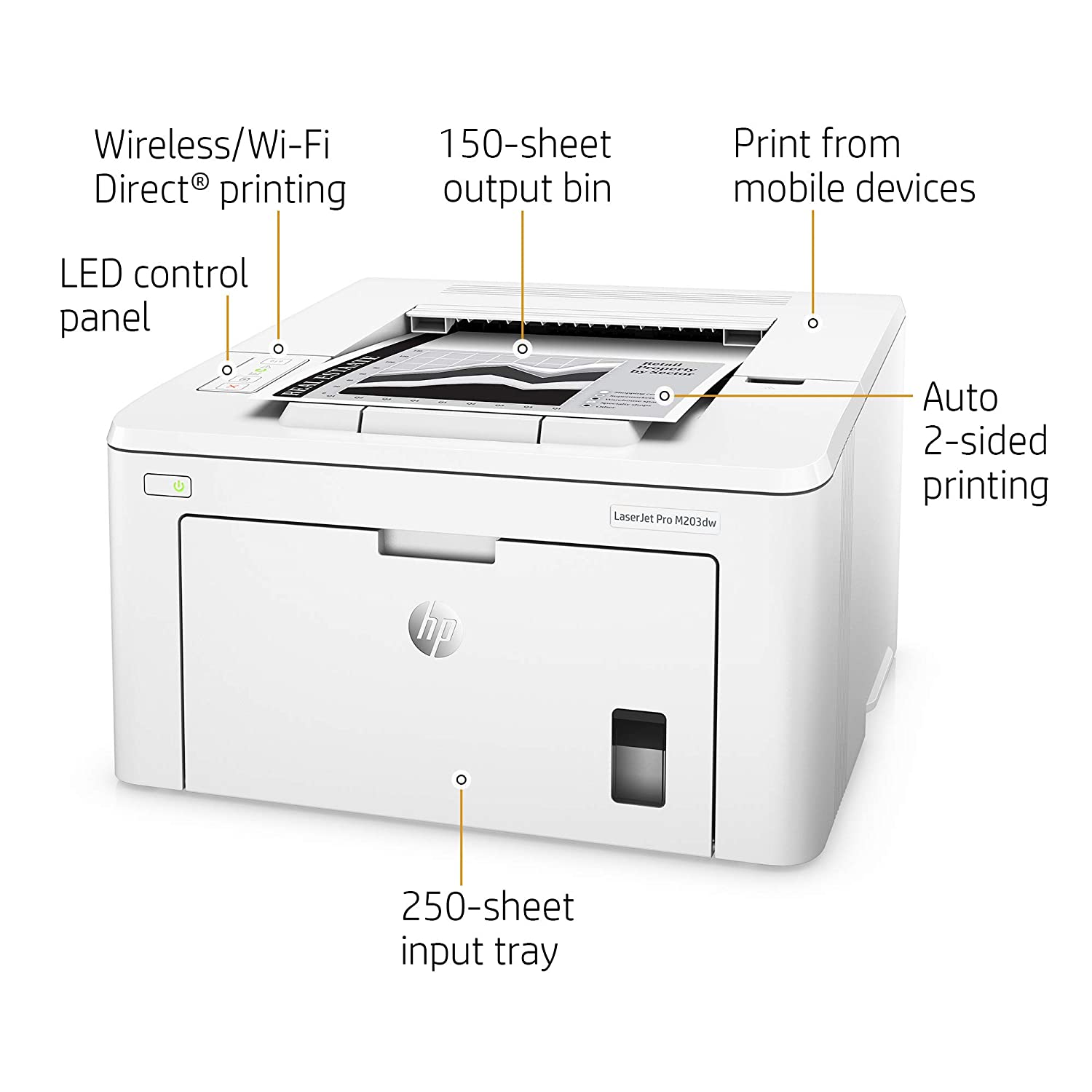 HP LaserJet Pro M203dw Wireless Laser Printer, Amazon Dash Replenishment  ready (G3Q47A)  Replaces HP M201dw Laser Printer