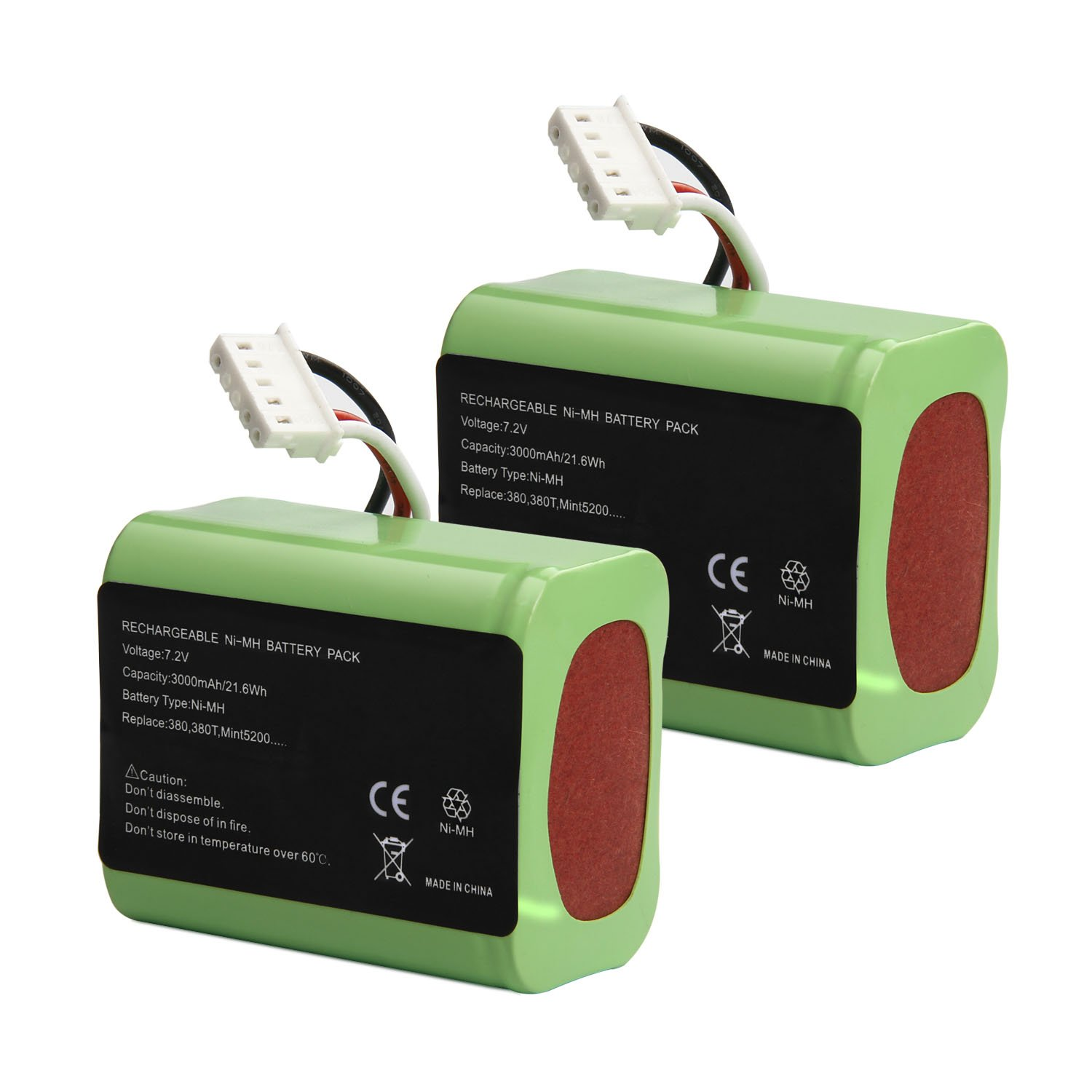 RayWEE [2 Pack 7.2V 3000mAh Ni-MH iRobot Mint 5200 Vacuum Cleaner Replacement Battery for iRobot Braava 380, 380T, Mint 5200, 5200B, 5200C Floor Mopping Robots(High Capacity)