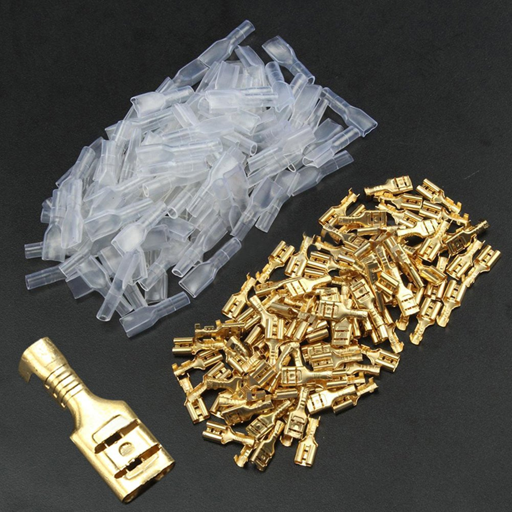 Jffeay 100Pcs 4.8mm Crimp Terminal Female Spade Connector and Insulating Sleeve 22-16AWG