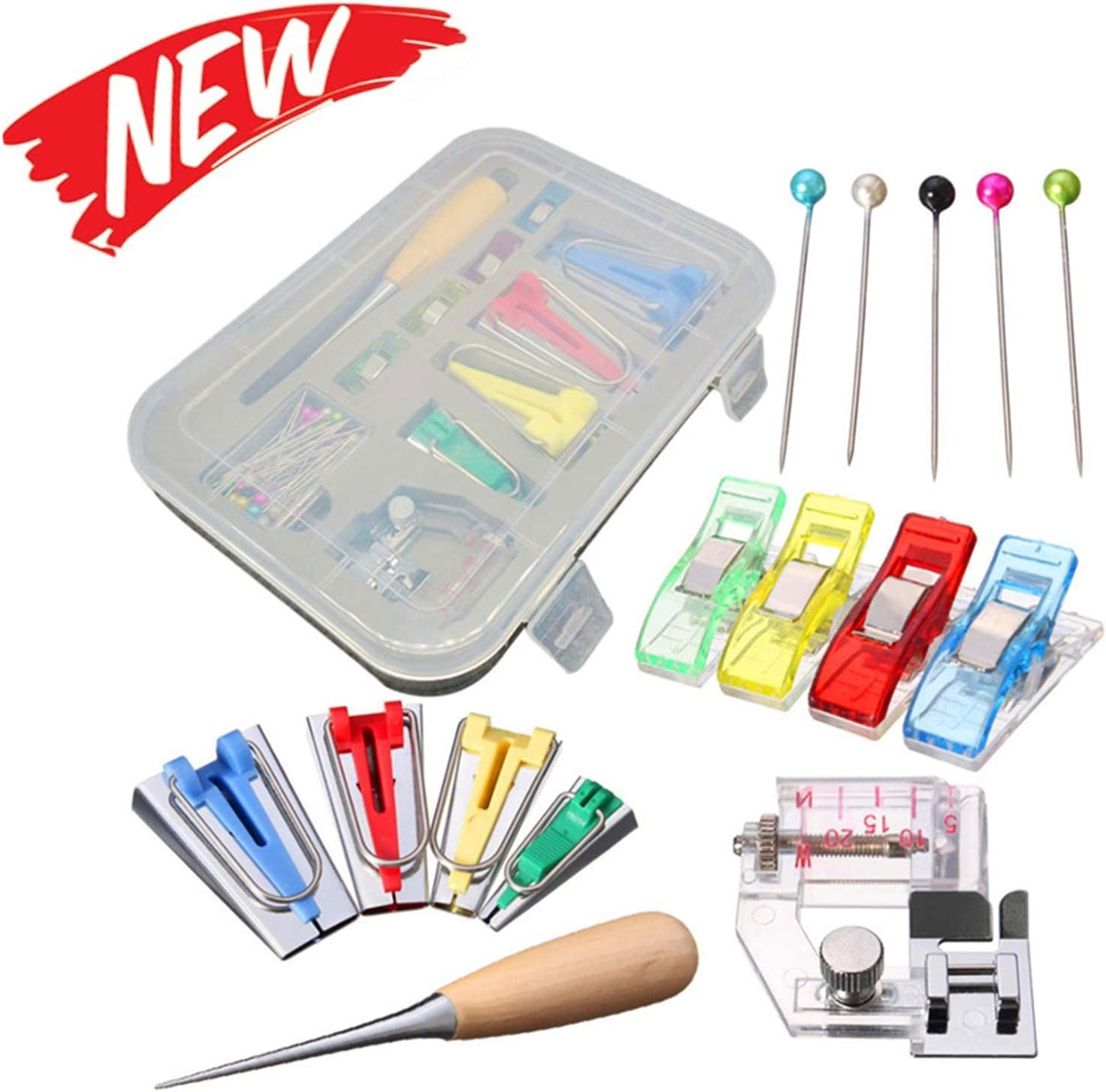 Yuema Bias Tape Maker Kits 4 Sizes 6MM 12MM 18MM 25MM Binder Foot Craft Clips for DIY Sewing Quilting Time Consuming 5pcs