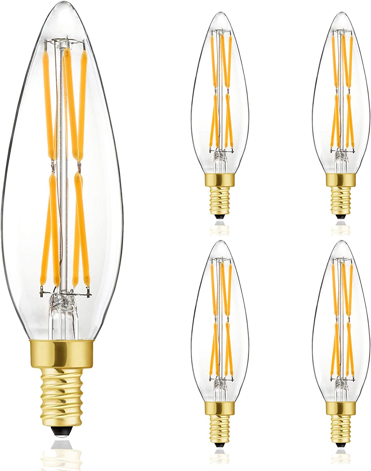 E12 Edison 8W LED Bulb, 100 watt Equivalent Candelabra Dimmable Chandelier Light Bulbs 2700K Warm White Clear 800lm E12 Vintage LED Filament Vintage Candle Bulb with Decorative,4.85in,4-Pack.