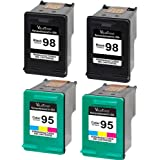 Valuetoner Remanufactured Ink Cartridge Replacement For 98 & 95 C9364WN C8766WN (2 Black, 2 Tri-Color) 4 Pack