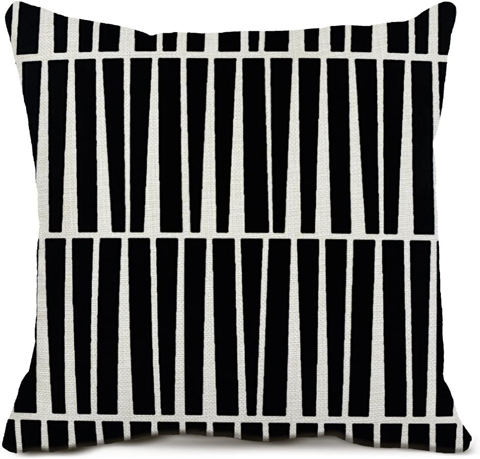Amazon Com Zazhuzai Geometric Throw Black White Pillow Case One Side Printed For Outdoor Home Decor Pillow Covers 20x20 Inch Home Kitchen