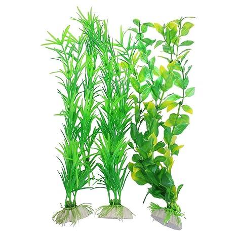 Plantas artificiales de acuario - SODIAL(R) 3pzs Plantas artificiales de plastico verde amarillo