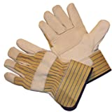 G & F 6431 Double Patch Palm Leather Work Gloves, Drivers Gloves, Large, 1 Pair