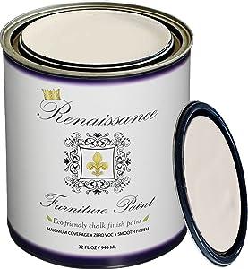Retique It It by by Renaissance Chalk Finish Furniture Paint, 32 oz (Quart), Ivory Tower 02 - Antique White